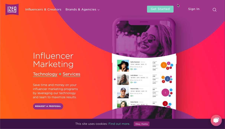 Screenshot of Izea influencer marketing website