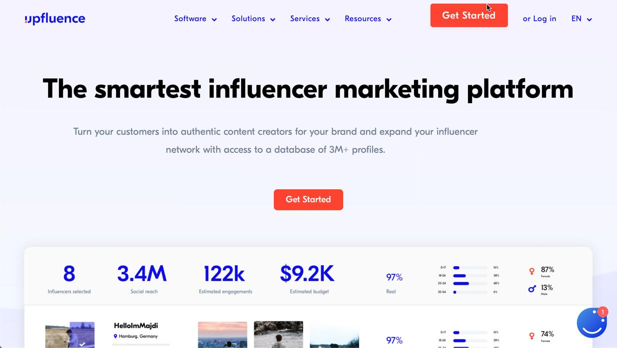 screenshot of upfluence's homepage