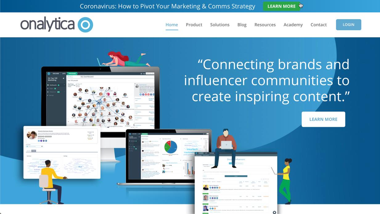 screenshot of Onalytica's homepage